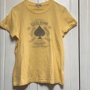 Lucky Brand yellow logo tee shirt size medium